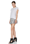 Silver Pleated Lamé Mini Skirt