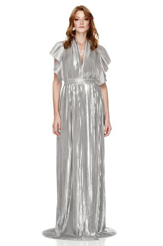Silver Pleated Lamé Maxi Dress - PNK Casual