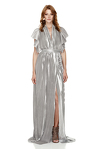 Silver Pleated Lamé Maxi Dress