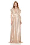 Rose-Gold Pleated Lamé Maxi Dress