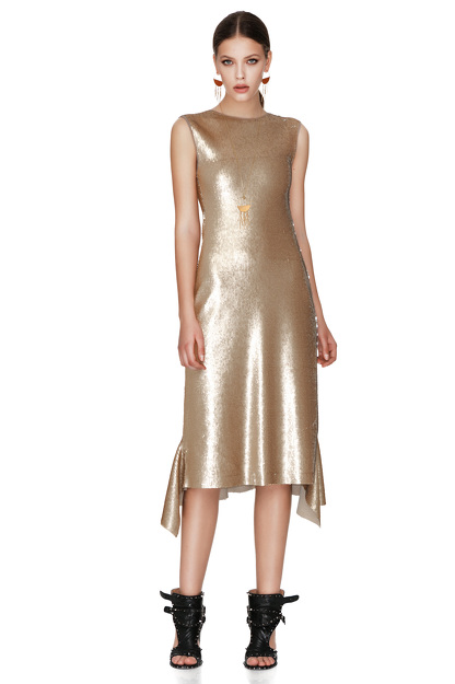 Gold Sequins Midi Dress