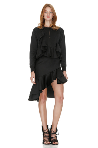 Black Wool Asymmetric Midi Skirt - PNK Casual