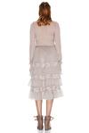 Beige Silk Chiffon and Lace Ruffled Dress
