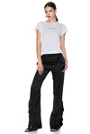 Black Silk Pants With Ruffles