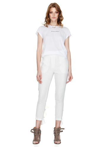 White Pants With Ruffles - PNK Casual