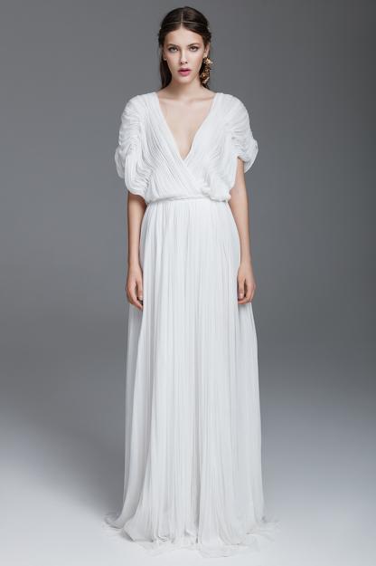White Silk Tulle Long Dress