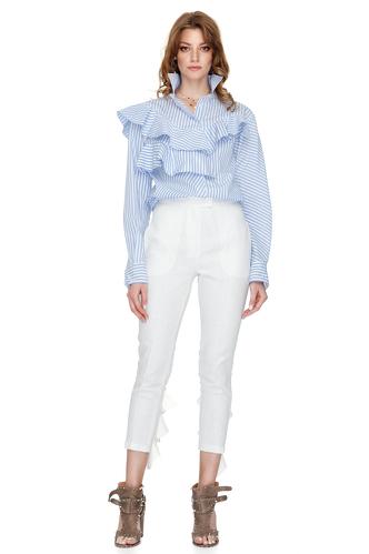 Ruffle Trimmed Striped Cotton Shirt - PNK Casual