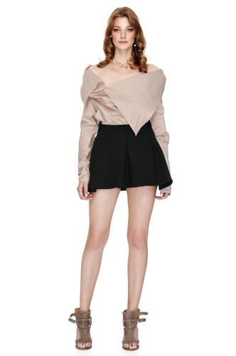 Dark Pink Shirt With Asymmetric Collar - PNK Casual