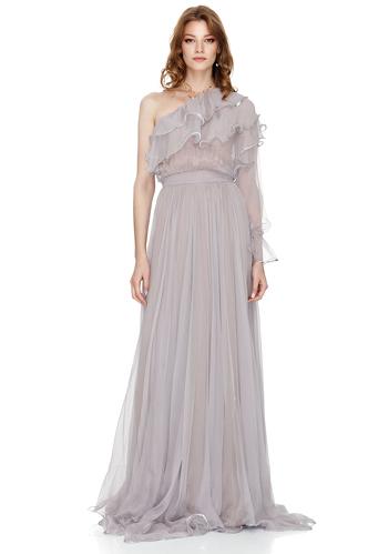 Lavender Silk Chiffon One Shoulder Maxi Dress - PNK Casual