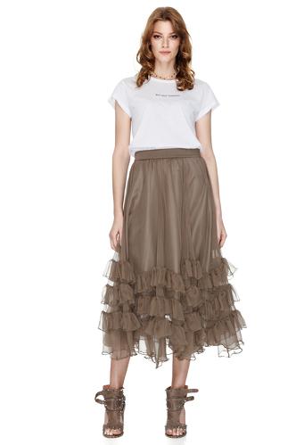 Brown Silk Chiffon Midi Skirt - PNK Casual