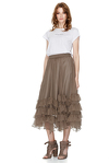 Brown Silk Chiffon Midi Skirt