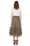 Brown Silk Chiffon Midi Skirt