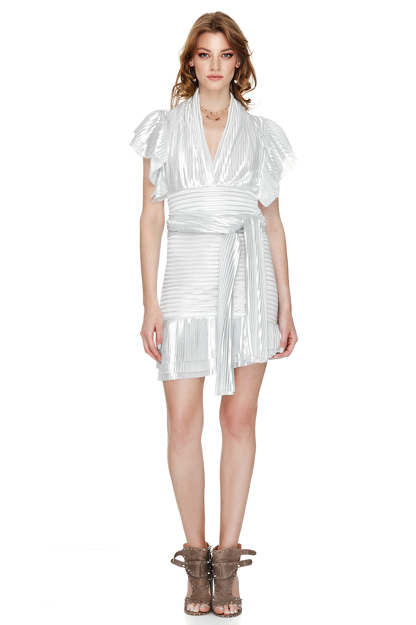 White And Silver Pleated Lame Mini Skirt