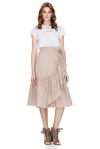 Ruffled Cotton Poplin Midi Skirt