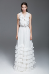 White Silk Chiffon Dress With Ruffles