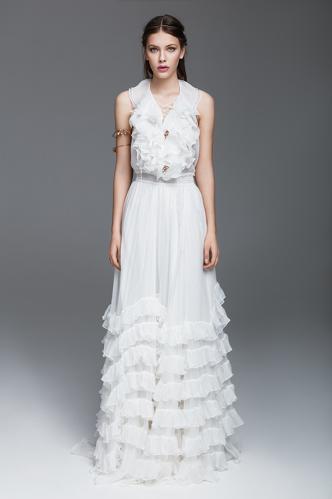 White Silk Chiffon Dress With Ruffles - PNK Casual