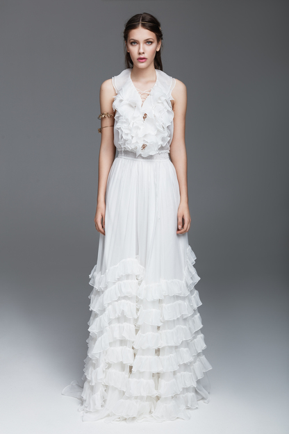 White Silk Chiffon Dress With Ruffles