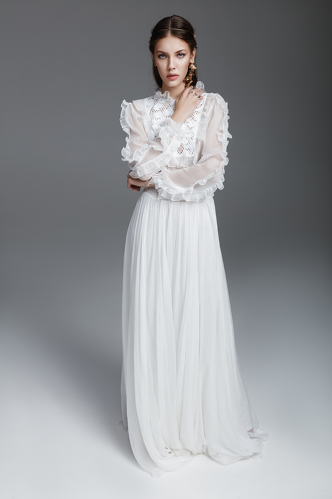 White Silk and Lace Long Dress - PNK Casual