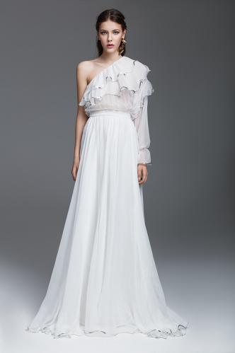 White Silk Chiffon Long Dress - PNK Casual