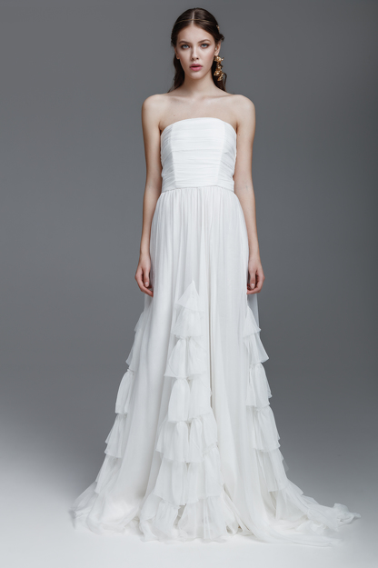 White Silk Chiffon Dress With Corset