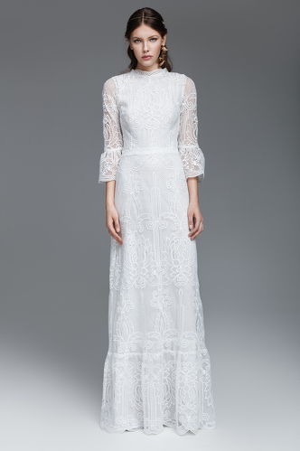 White Crocheted Long Dress - PNK Casual