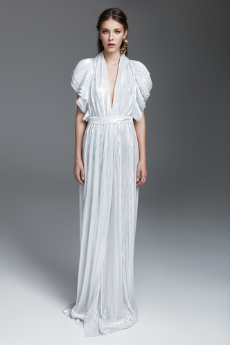 White and Silver Long Dress - PNK Casual