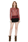 Burgundy Delicate Lace Sheer Top