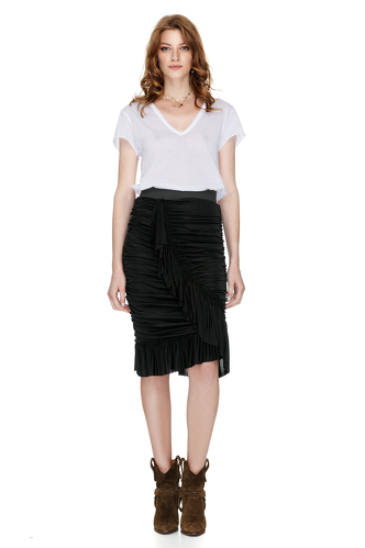 Black Midi Skirt With Wrap Effect - PNK Casual