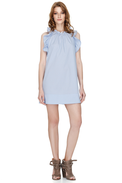 Blue Ruffled Cotton Poplin Backless Dress