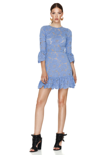 Blue Floral Lace Mini Dress - PNK Casual