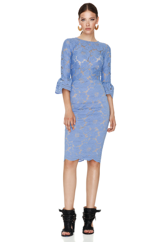 Blue Floral Lace Slim Midi Dress - PNK Casual