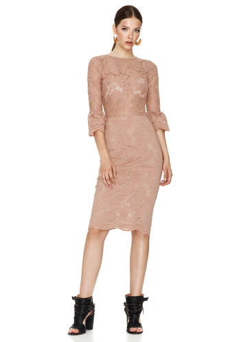 Dusty Pink Floral Lace Slim Midi Dress - PNK Casual