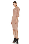 Dusty Pink Floral Lace Slim Midi Dress
