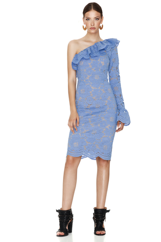 Blue Floral Lace Midi Dress One Shoulder - PNK Casual