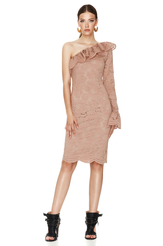 Dusty Pink Floral Lace Midi Dress One Shoulder - PNK Casual