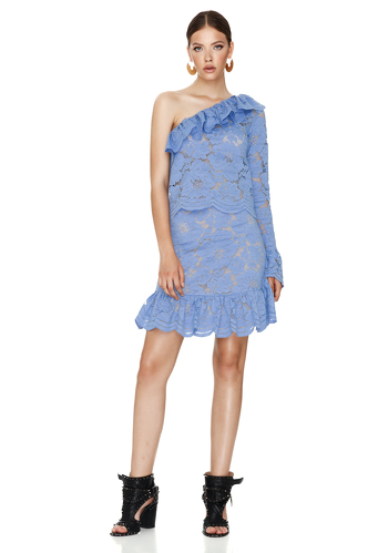 Blue Floral Lace Blouse One Shoulder - PNK Casual