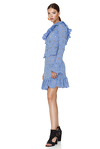 Blue Floral Lace Blouse One Shoulder