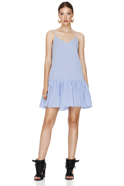 Blue-Checkered Mini Dress With Straps