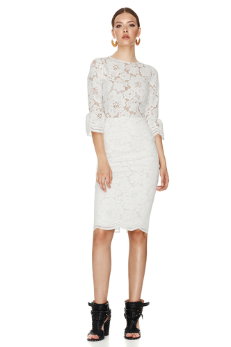 White Floral Lace Slim Midi Dress - PNK Casual