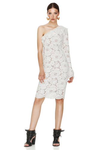 White Floral Lace Midi Dress One Shoulder - PNK Casual
