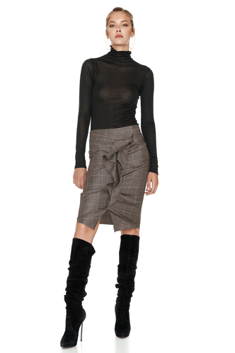 Brown Wool Ruffled Skirt - PNK Casual