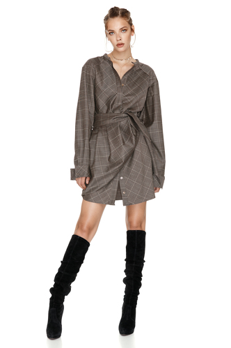 Wrap Effect Wool Mini Dress - PNK Casual