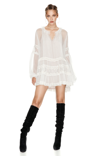 White Silk Chiffon Mini Dress - PNK Casual