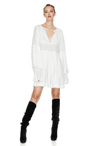 White Mini Pleated Dress - PNK Casual