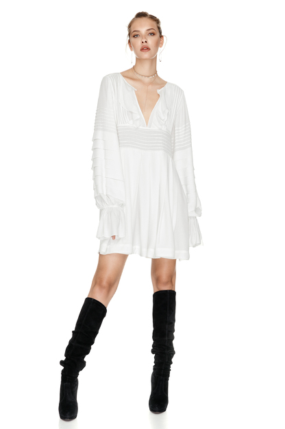 White Mini Pleated Dress