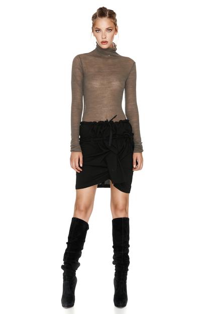 Kaki Wool Turtleneck Sweater