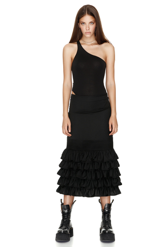 Black One Shoulder Bodysuit - PNK Casual