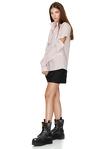 Stripe Cutout Cotton Shirt