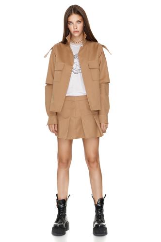 Brown Pleated Poplin Mini Skirt - PNK Casual