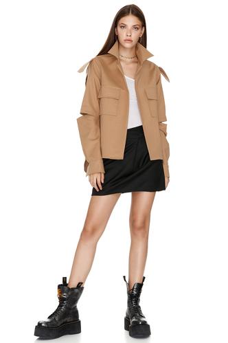 Brown Cutout Poplin Jacket - PNK Casual